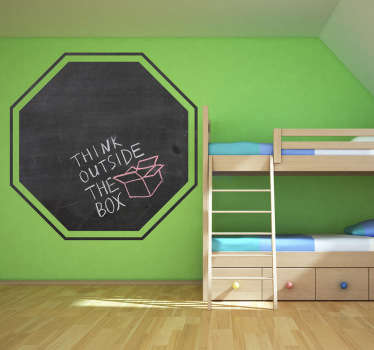 An original blackboard decal with 8 sides! This wall sticker illustrates a stop sign. Decorate your wall and write anything and whenever you want!