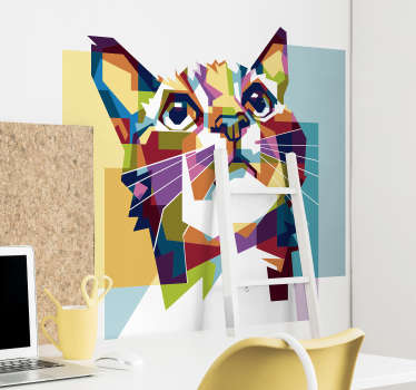 Colorful cat wall art sticker  made of geometric abstract design. Easy to apply, self adhesive and available in different sizes