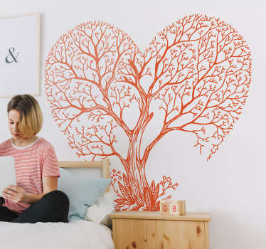 An original tree wall art sticker design of a large tree in a heart shape. Available in different colours options. Easy to apply and adhesive.