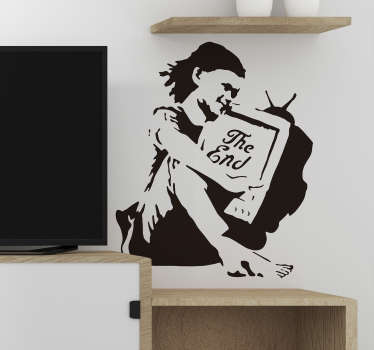 Banksy wall art urban wall sticker design of a drawing sketched girl with a tv. Easy to apply and available in any required size.