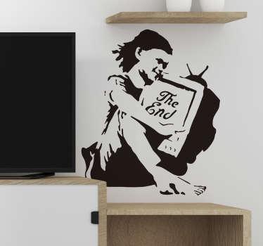 Naklejka z rysunkiem Dziewczynka z telewizorem