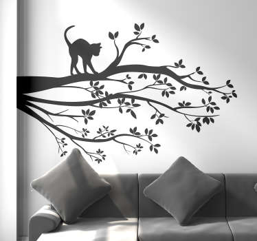 Decorative home wall sticker made of tree design with cat on it branch. Available in different colour options and can be customized in any size.