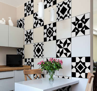 Beautiful geometric tiles decal to decorate the home wall space in style. An ideal decoration for a kitchen and bathroom.Easy to apply and waterproof.