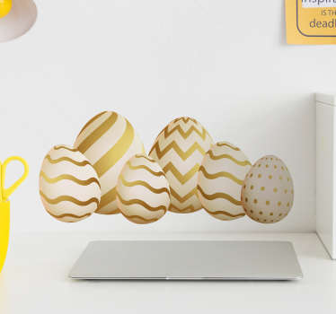 Golden eggs seasonal wall sticker decoration design for home. Easy to apply and available in any required size. Highly adhesive.