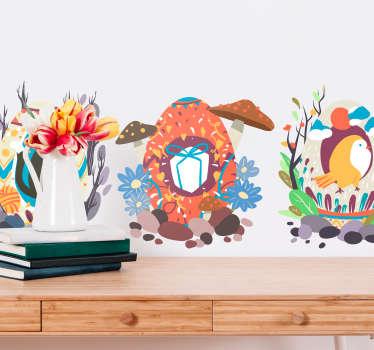 Sticker Maison Oeufs de Pâques et Animaux