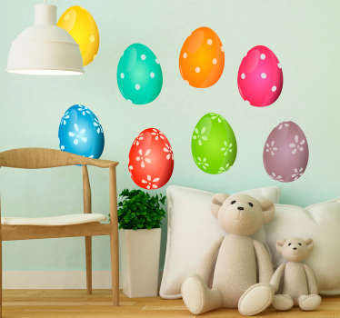 Decorative holiday wall sticker made of colorful Easter egg kits for kids bedroom decoration. Easy to apply and available in any required size.