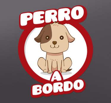 Pegatina de perro a bordo para coche o auto con dibujo de perro con el que podrás advertir de forma simpática a conductores ¡Envío a domicilio!