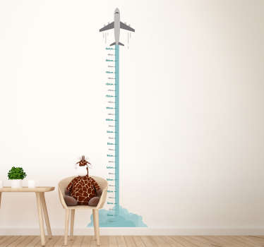 Watch your child grow continuously through this fantastic airplane themed height chart wall sticker! +10,000 satisfied customers.