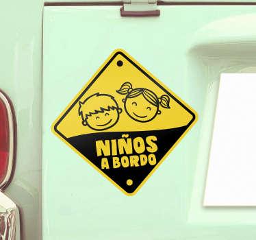 Pegatina de niños a bordo con dibujo de niños en color amarillo y negro para coche par advertir a los conductores ¡Envío a domicilio!