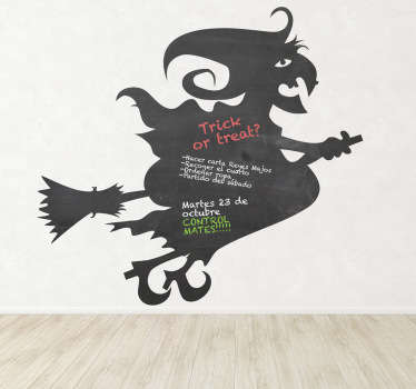 Blackboard Stickers;Silhouette illustration of a witch flying on her broom. Slate sticker design ideal for decorating any room