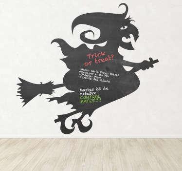 Naklejka tablica czarownica na miotle