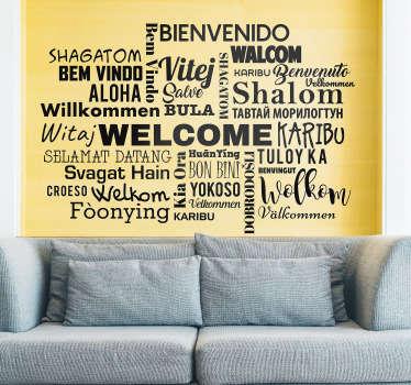 """Naklejka napisy """"Witamy"""" w różnych językach"""