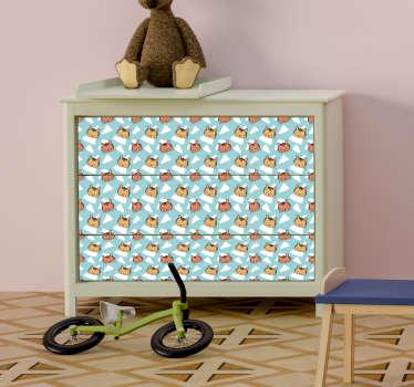 Ce sticker animal pour meubles représente plusieurs petites têtes de tigres adorables qui feront craquer aussi bien les enfants que les parents
