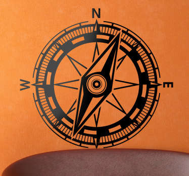 Geografisk kompassmuren klistermärke