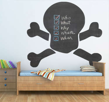 A superb design of a blackboard skull that is part of the pirate wall stickers collection. Ideal for the little ones at home. Suitable for all ages.