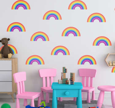 Rainbow pattern nursery wall sticker to decorate the bedroom of an infant and kid. Easy to apply and available in any desired size.