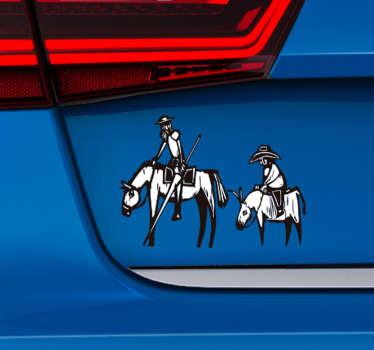 Pegatinas coche con los personajes de Don Quijote y Sancho en caballo para que llenes tu coche de cultura y todos lo admiren ¡Envío a domicilio!