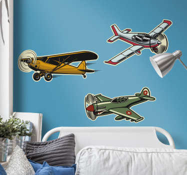 An original object wall sticker design of set of  vintage air craft design. Ideal for teens and kids. Easy to apply and available in different sizes.