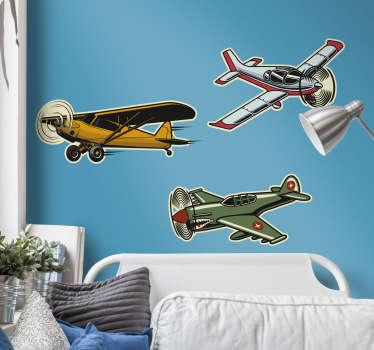 Naklejka z rysunkiem Samoloty w stylu vintage
