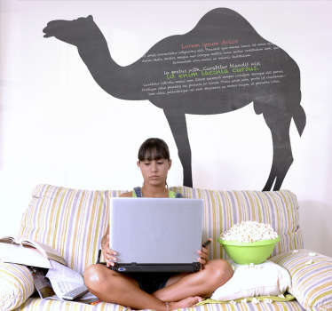 Blackboard Stickers-Silhouette illustration of a camel. Slate sticker design ideal for decorating any room
