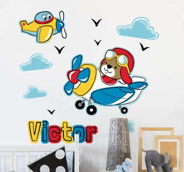 Sticker Chambre Enfant Dessin chien et avions