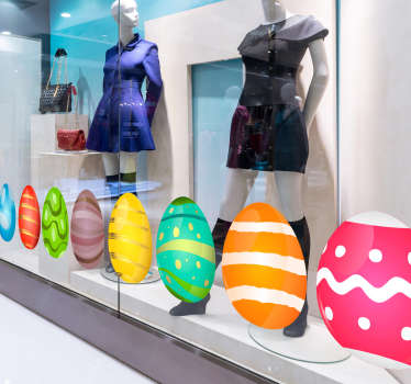 Get ready for Easter with this fantastic collection of shop window stickers, depicting a collection Easter eggs! Personalised stickers.