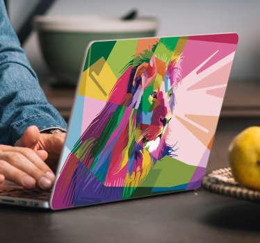 Laptop sticker Kleurrijke leeuw