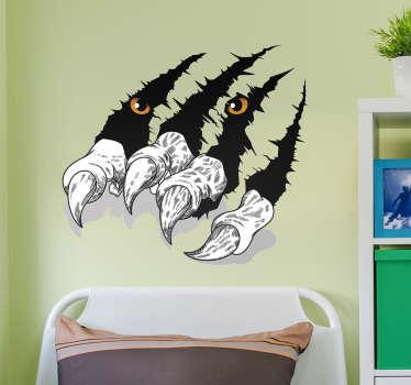 ¡Nuestro vinilo de pared de animales son una gran idea para decorar el interior! Vinilo con efecto 3D con arañazo de tigre perfecto para habitación juvenil.