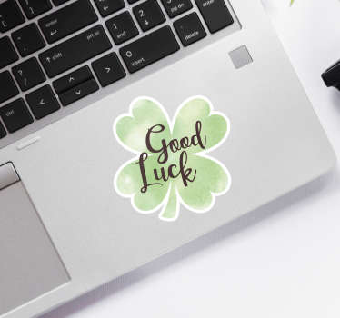 Klavertje vier laptop sticker of Good luck laptop sticker. Een leuke inspirerende laptop stickers: laptop stickers bloemen, laptop stickers klavertjes