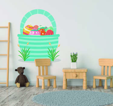 Get ready for Easter with this fantastic wall art sticker, depicting a basket full of fantastic Easter eggs! Choose your size.