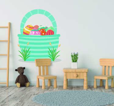 Sticker Chambre Enfant Panier Oeufs de Pâques