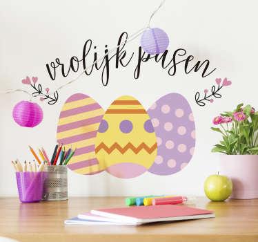 Vrolijk pasen konijn sticker, super leuk, ook voor het raam!  Vrolijk pasen sticker, paaseitjes sticker of vrolijk pasen muursticker, pasen stickers!