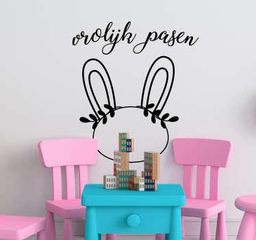 Vrolijk pasen konijn sticker, alles kan! Vrolijk pasen etalage sticker, Winkelruit pasen sticker of vrolijk pasen raamsticker en pasen stickers!