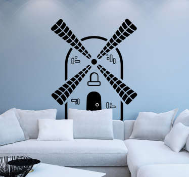 Muurstickers woonkamer zwarte windmolen