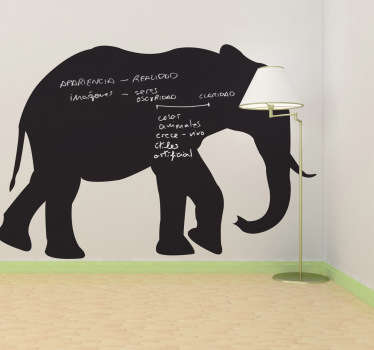Adesivo murale lavagna silhouette elefante.