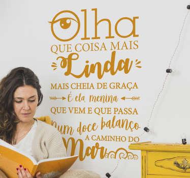 Autocolantes textos garota de ipanema