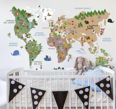 Mural formado por el diseño de un mapamundi con ilustraciones que representan la cultura de cada continente. Promociones Exclusivas vía e-mail.
