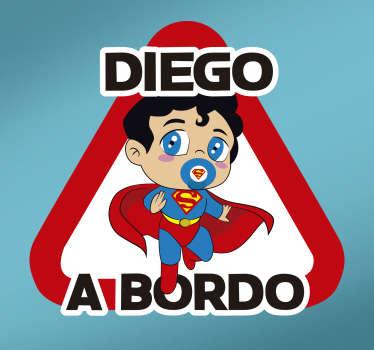 Pegatina bebe a bordo personalizada para coche o auto con el diseño de Superman para recordar a los conductores que tengan cuidado ¡Envío a domicilio!