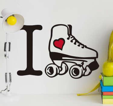 Jeg elsker skating hjemme vegg klistremerke