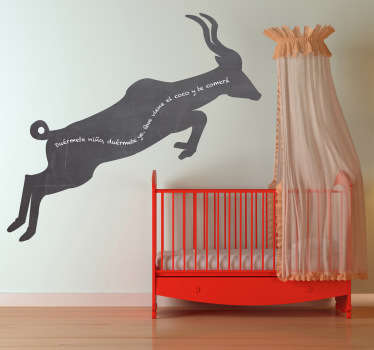 Blackboard Stickers; Silhouette illustration of a gazelle. Slate sticker design ideal for decorating any room