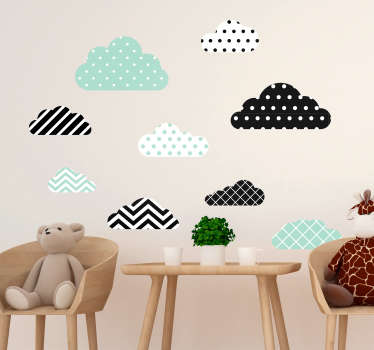 Decorative mint green textured cloud decal for children bedroom space. It contains colorful strokes and dots. Available in any required size.