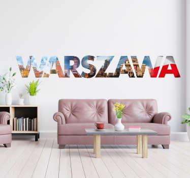Naklejka na ścianę miejsca Napis Warszawa