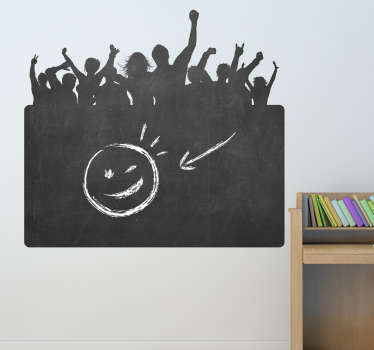 Blackboard Stickers; Silhouette illustration of a party crowd. Slate sticker design ideal for decorating any room