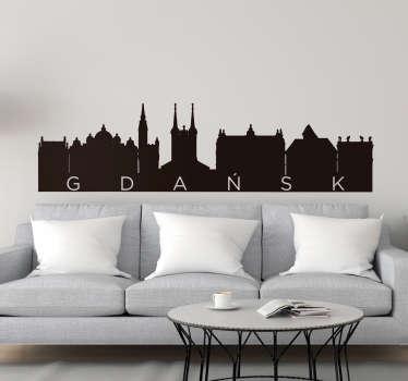 Naklejka na ścianę sylwetka Panorama Gdańsk
