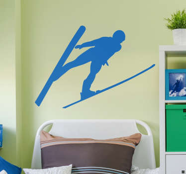 If you love to ski, then this wall silhouette sticker depicting a man skiing magnificently through the air! Extremely long-lasting material.
