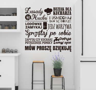 """Napisy na ścianę do kuchni to świetny pomysł na intrygujące dekoracje Twojego domu. Zamów naklejkę z tekstem """"Zasady kuchni""""."""