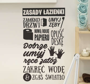 """Naklejki na ścianę napisy do łazienki to świetny pomysł na intrygujące dekoracje Twojego domu. Sprawdź naklejkę z tekstem """"Zasady łazienki""""."""