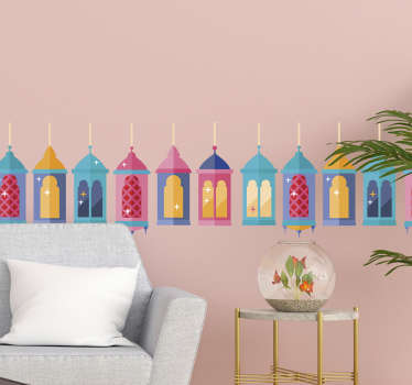 Decorative boarder wall sticker design of colorful orient lamp design. Lovely living room and bedroom decoration. Easy to apply and adhesive.