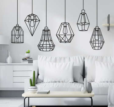 Wzór na ścianę Geometryczne lampy