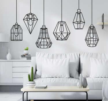 Stickers objecten lampoin met lichtjes sillouet